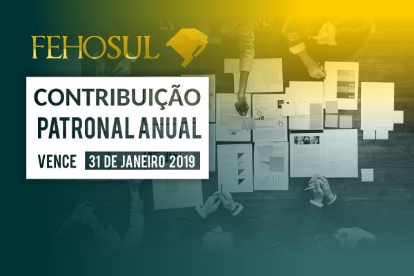 Contribuição Patronal Anual da FEHOSUL vence no dia 31 de janeiro