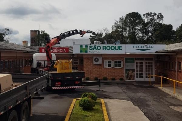 Nova estrutura para atender pacientesCOVID-19 avança no Hospital São Roque de Carlos Barbosa