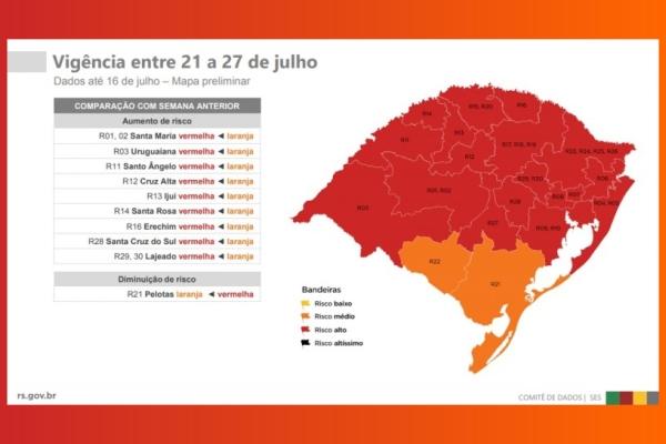 Mapa preliminar aponta 90% das regiões com bandeira vermelha no RS
