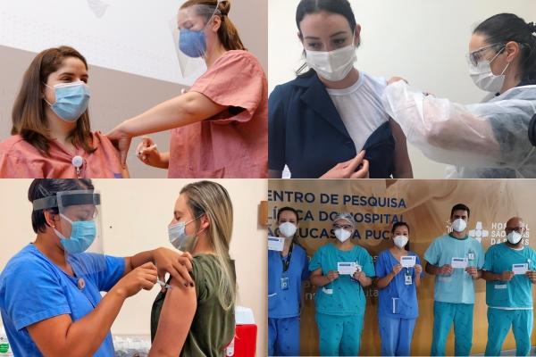 Veja como foi o início da vacinação nos hospitais de Clínicas de Porto Alegre, Moinhos de Vento, São Lucas da PUC-RS e Divina Providência
